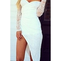 White Lace Sweetheart Off The Shoulder Semi Sheer Long Sleeve Gathered Wrap Asymmetric High Low Fitted Midi Dress
