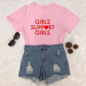 Girls Support Girls Red Letter Print Tee Pink Grey White Black t shirt Women Sexy Funny Tumblr Graphic Hipster t-shirts Tops
