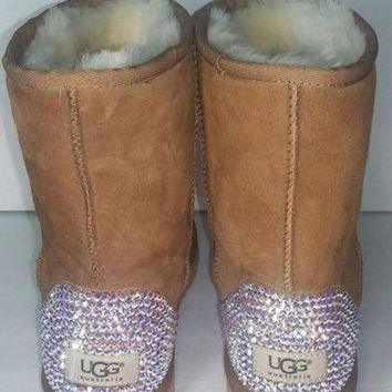 ICIK8X2 Bailey Bow UGGs, Custom Bailey Bow Uggs, Brown Classic Uggs, Swarovski Uggs, Crystal U