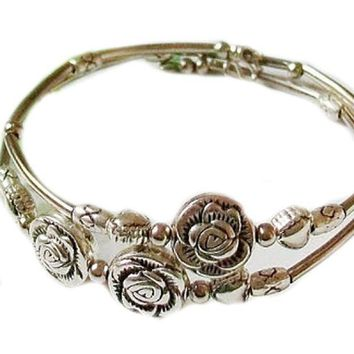CREYV2S Doinshop New Nice Fashion Tibetan Silver Retro Women Hand Chain Bracelet Jewelry (Three Roses)