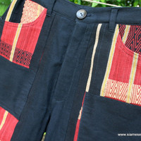 Ethnic Naga Black Mens Shorts In Hand Woven Tribal Patterns And Natural Cotton - Luke