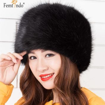 New Fashionable Warm Men made Fox Fur Leather Hats Black Red White Multiple Color Warm Winter Hats For Women