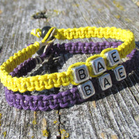 BAE, Set of Two Bracelets, Before Anyone Else, Royal Purple and Bright Yellow Hemp Jewelry