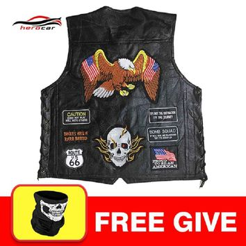 Trendy New Genuine Leather Motorcycle Vest Men Punk Retro Classic Style 23 Patches Motorcycle Jacket Biker Club Casual Vest Clothing AT_94_13