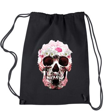 Daisy Skull Drawstring Backpack