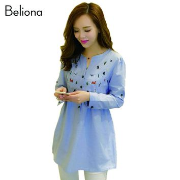 High Quality Maternity Blouses Blue Shirts for Pregnant Women