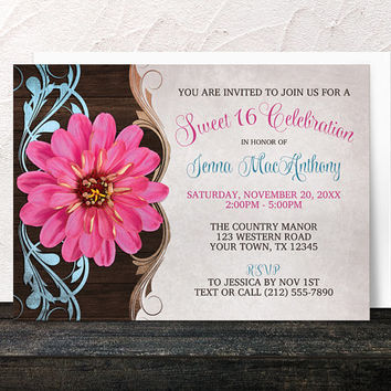 Pink Zinnia Sweet 16 Invitations - Rustic Country Girl Floral Pink Sweet 16 Party - Printed Invitations