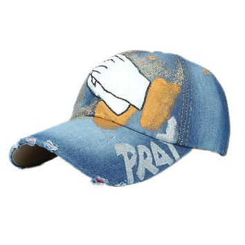 Women Men Baseball Cap Hand Painted Denim Rhinestone Baseball Cap  Adjustable bone masculino Snapback Hip Hop Flat Hat