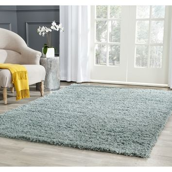 Safavieh Athens Shag Seafoam Area Rug (5'1 x 7'6) | Overstock.com Shopping - The Best Deals on 5x8 - 6x9 Rugs