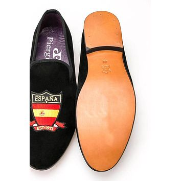 Four countries flag embroidered purple leather insole genuine leather out sole men velvet shoes men men flats