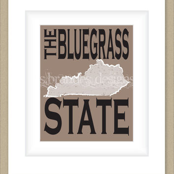 8x10 Kentucky Print, The Bluegrass State Typography Art Custom Color Map Art