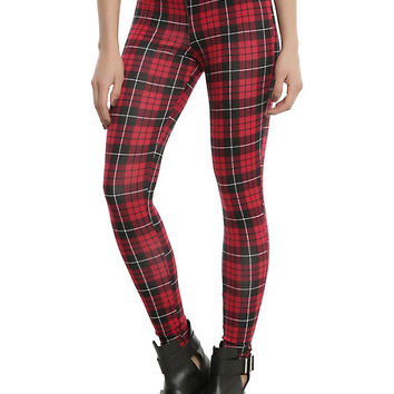 Blackheart Red & Black Plaid Leggings