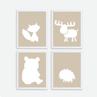 Printable Baby Forest Animals Silhouette set of 4 Instant Download Fox, Bear, Hedgehog, Moose Wall Art, Baby, Kids Nursery Decor, Baby Room,
