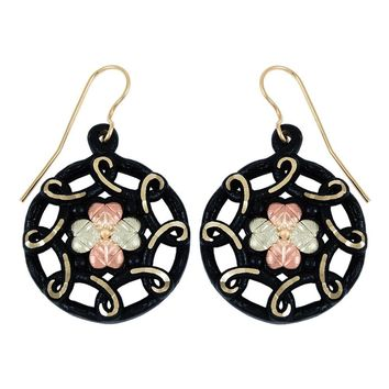 Black Hills Gold Black Powder Coated Leaf Medallion Earrings
