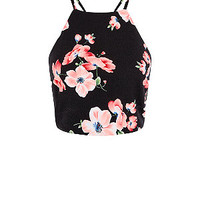 Black Floral Print High Neck Crop Top