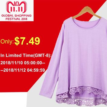 Women T-Shirt Plus Size 3XL 4XL 5XL Long Sleeve T Shirt O Neck Crochet Lace Splice Irregular Casual Top Tee Shirts female tunics