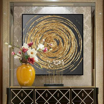 Gold art Acrylic abstract Paintings On Canvas original black painting Large texture wall pictures home decor cuadros abstractos hand painted
