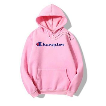 Champion Fashion Women Pink Nude Color Long Sleece SweaterShirt Hoodie