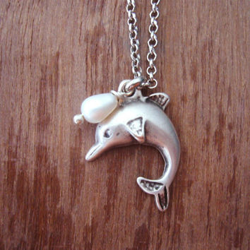 dolphin necklace. charm necklace. white pearl necklace