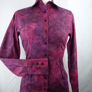 Women's Pink & Purple Square Batik CR Tradition Western Shirt