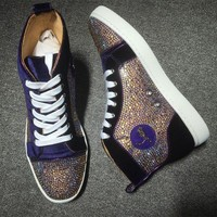 DCCK Cl Christian Louboutin Rhinestone Style #1932 Sneakers Fashion Shoes