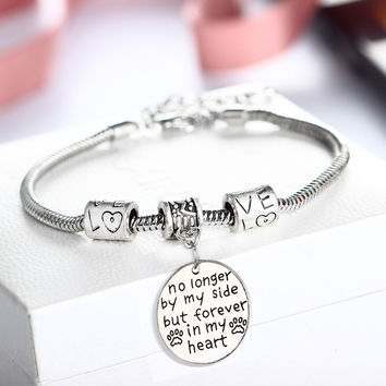 No Longer By My Side But Forever In My Heart Cat Dog Pet Paw Footprint Bracelet Bangles Family Girls Women Men Jewelry Gifts