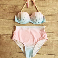 Gradient Push Up High Waist Shell Swimwear Bikini Swimsuit
