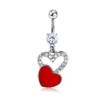 New Charming Dangle Crystal Navel Belly Ring Bling Barbell Button Ring Piercing Body Jewelry = 4804892164