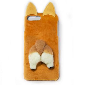 3D Felt Corgi Butt Hard Phone case ( iPhone X / 7 Plus/ 8 Plus)