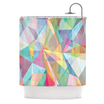 "Mareike Boehmer ""Graphic 32"" Rainbow Abstract Shower Curtain"