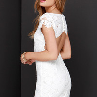 Strike a Poise Ivory Lace Backless Dress