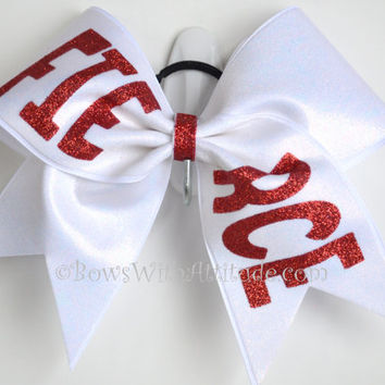 "3"" Wide Luxury Cheer Bow - Red Fierce on White"