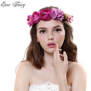 EVER FAIRY NEW Women Rose Flower Wreath Festival Wedding Girls Party Floral Garlands Crown Floral Halo With Ribbon Flower Crown