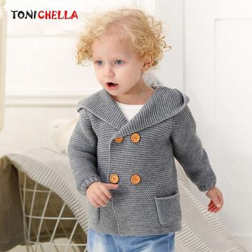 Baby Boy Knitted Sweater Hooded Autumn Winter Toddler Newborns Outwear Ear Shape Hat Fashion Knitting Cardigan Clothes CL5162