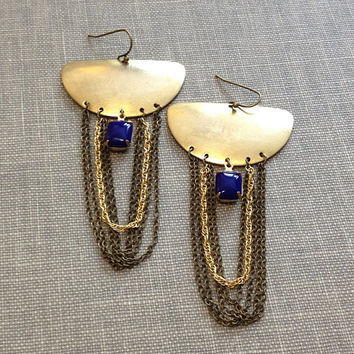 mixed metal brass and gold chain with navy blue vintage rhinestones boho chic statement chandelier earrings