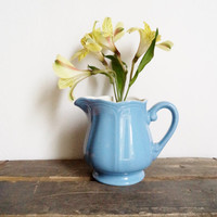 Vintage Blue Ironstone Pitcher Cottage Home Decor Country Farmhouse Shabby Chic Serving Entertaining Japan Collectibles