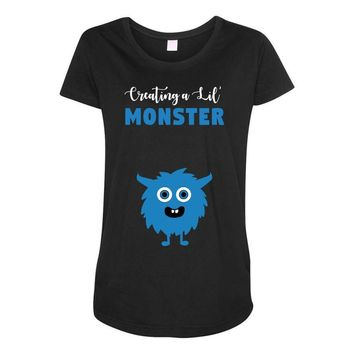 Creating A Lil Monster Baby Boy Maternity Scoop Neck T-shirt