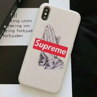 Supreme joint name LV tide brand men and women frosted leather hard shell iPhonex mobile phone case cover #2