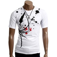 Doublju Mens Graphic T-shirts with Short Sleeve