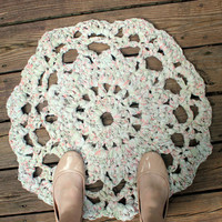 Crochet Rug, Boho Rug, Rustic Rug, Floral Rug, Wedding Decor, Upcycled Rug