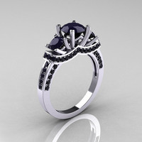 French Platinum Three Stone Dark Blue Sapphire Wedding Ring, Engagement Ring R182-PLATDBS