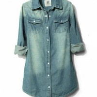 Washed Denim Blouse with Twin Chest Flap Pockets