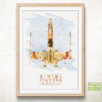 X-wing starfighter, Star Wars - Watercolor, Art Print, Nursery Wall decor, Watercolor Print, Star Wars Poster