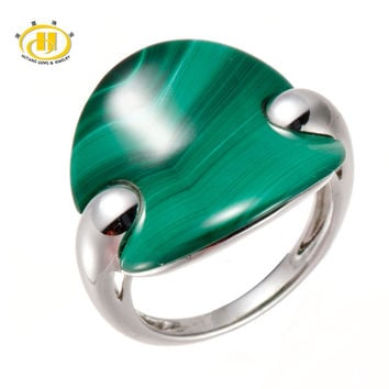 Hutang 100% Natural Fashion Cut Green Malachite Solid 925 Sterling Silver Ring Fine Jewelry One of a Kind Unique Style