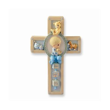 Precious Moments Blue Baby Cross Plaque