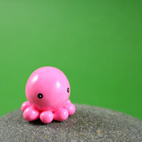 Little Pink Octopus - Hand Sculpted Miniature Polymer Clay Animal