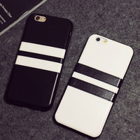 Black White Straps Leather Case  Case for iPhone
