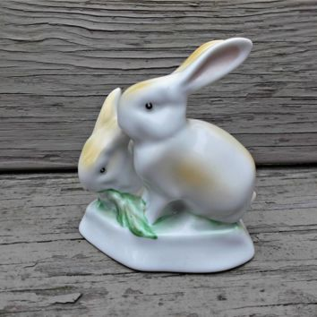 Bunny Rabbits Vintage Figurine Hand Painted Hungary Porcelain