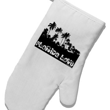 Florida Love - Palm Trees Cutout Design White Printed Fabric Oven Mitt by TooLoud