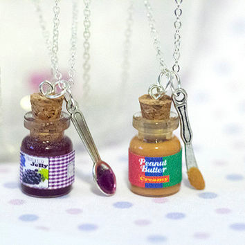 Miniature Cute BFF Peanut Butter Grape Jelly Jar Necklace Set with knife and spoon- Best Friend Forever